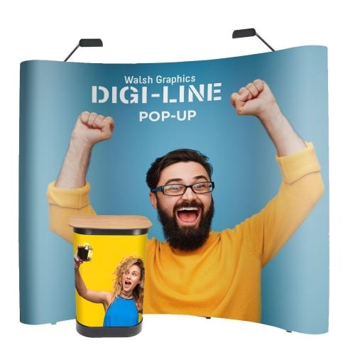 DIGI-LINE Classic Pop-Up Stand Curved 3x3 Bundle with LED lights  1+ units