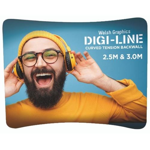 DIGI-LINE Curved Tension Backwall - 3m  3000mm - Hardware Only