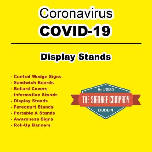 Please Ensure Social Distancing Bollard Covers Dublin COVD-19 Signage